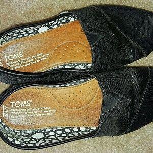 Toms Black Glitter Shoes